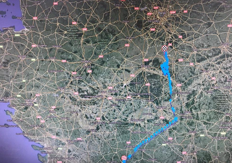 De Route van de 2e GPS-duif van Limoges van Rieks