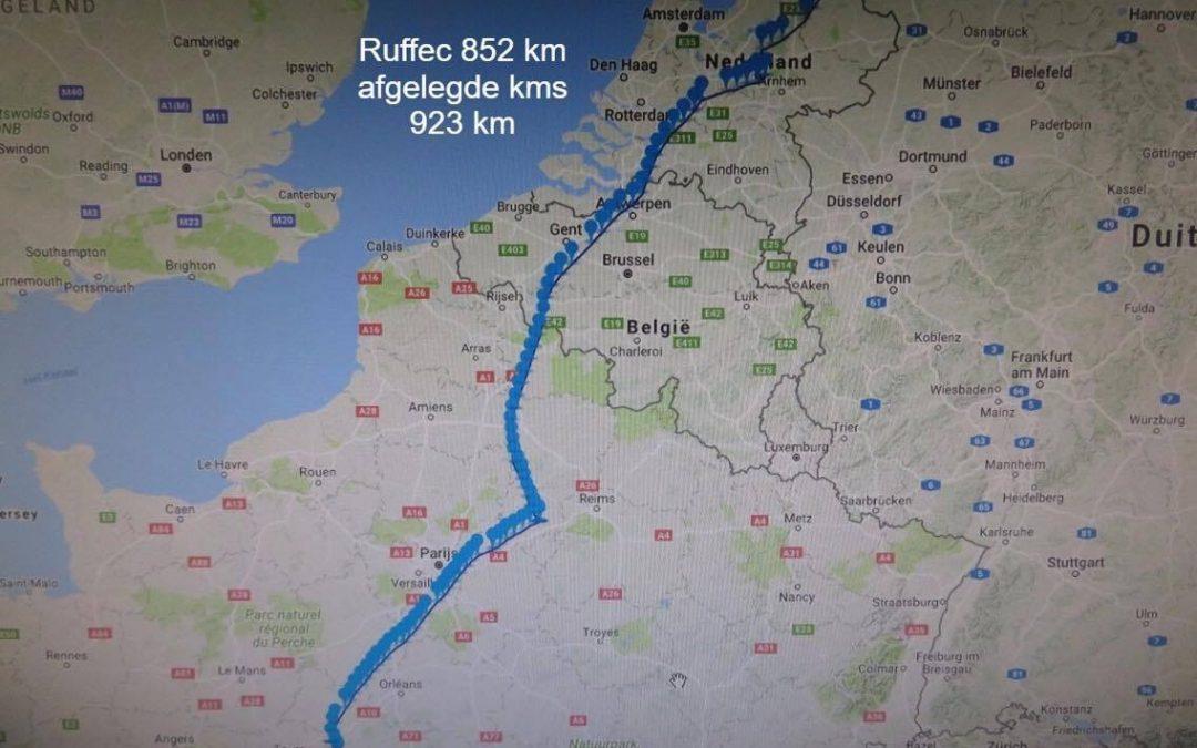 GPS-track vanuit Ruffec 852 km van Rieks Lonsain
